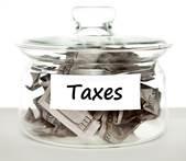 Tax jar with money